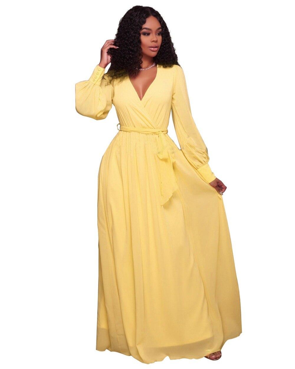 Black dress yellow sash - Aletterhin Long Sleeve Sashes Maxi Dresses Women Elegant Yellow Pink V Neck Ruffles A Line Loose