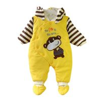 Baby Clothes Autumn Winter Long Sleeve Hooded Romper Cartoon Pattern Thicker Striped Cute Soft Baby Boy