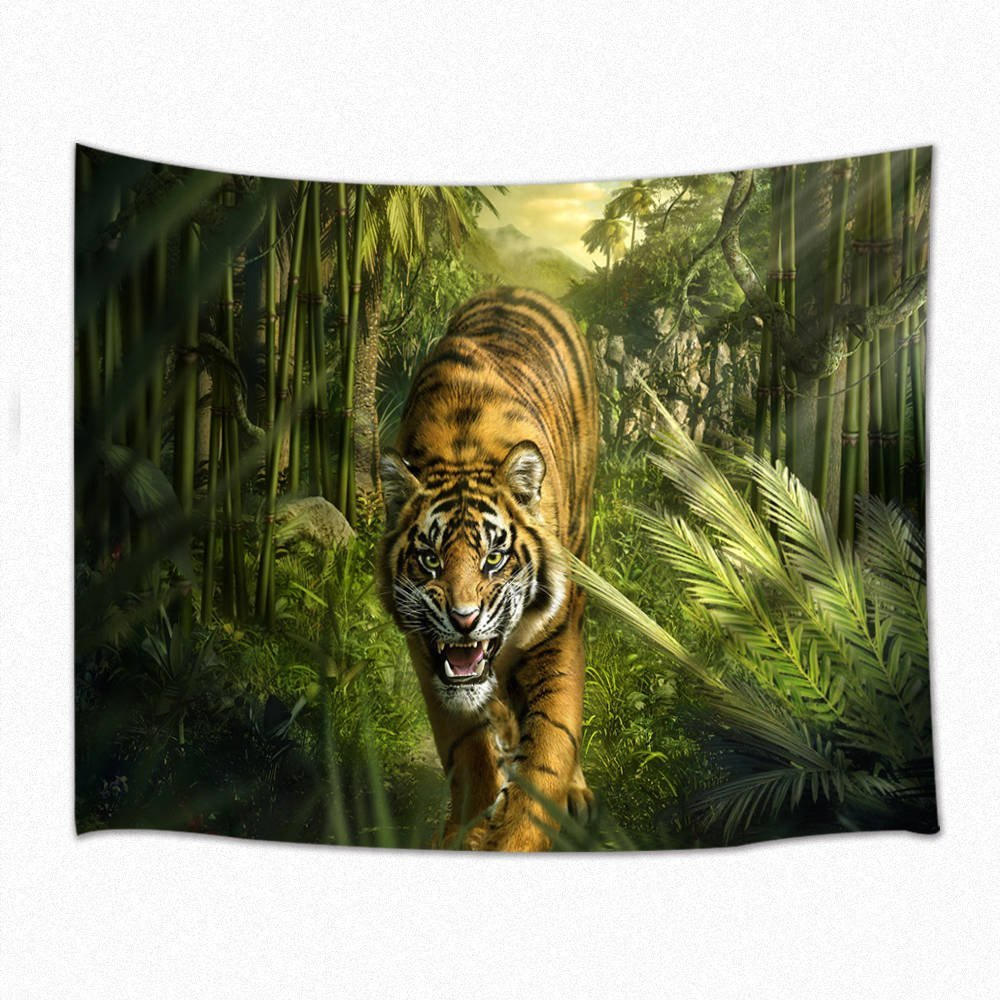 Animal Decor Tapestry 3D Tiger In Forest Wall Hanging For