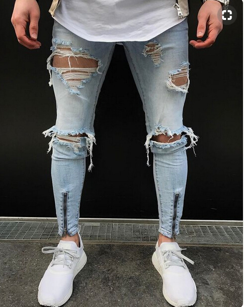 H.A.Sueno 2018 hot wholesale slim fit mens jeans with zipper high street Distrressed jeans denim Trousers for men drop shipping