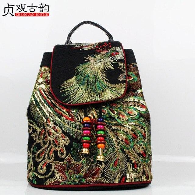 Ethnic Handmade Embroidered Women Backpack Femme Glittering Peacock Bagpack National Canvas Feminina Travel School Lady Hand Bag