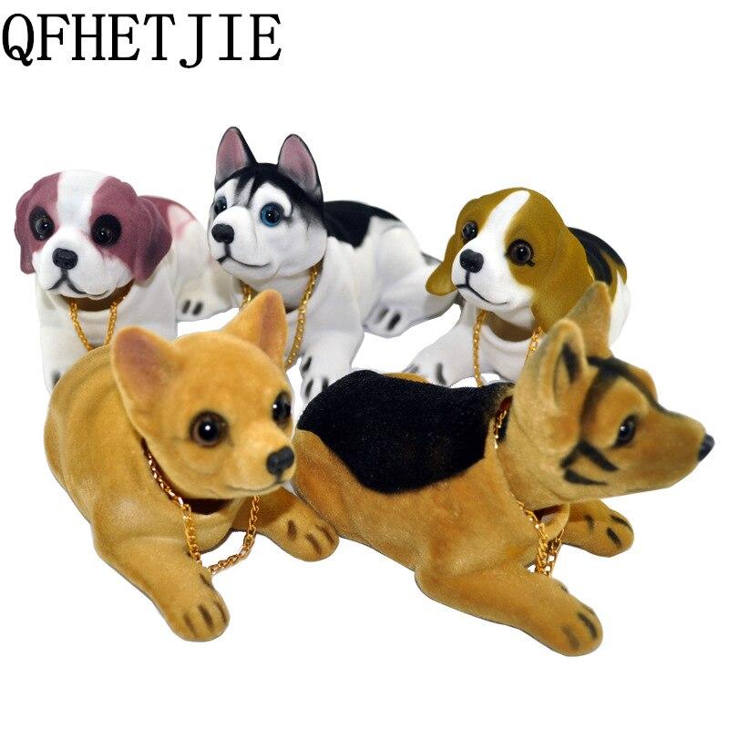 QFHETJIE Car Ornament Shaking Dog Nodding Dog Car Styling Cute Bobblehead Dog Doll Shakes Head For Car Interior Decoration