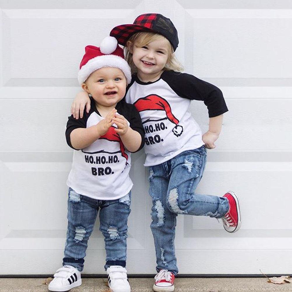 1-6 T Weihnachten Weihnachten Infant Kleidung Mode Kinder Junge Mädchen Casual Nette Tops Rot Santa Hut T Hemd Kinder Kostüm Outfit Up-To-Date-Styling
