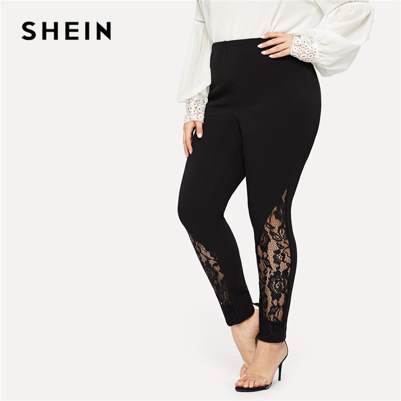 SHEIN Black Casual Elastic Mid Waist Sheer Lace Insert Pencil Pants Plus Size Women Slim Fit Skinny Trousers