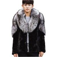 Men New Winter Black Fashion Luxury Faux Fur Coat Fox Fur Turn Down Collar Full Fur Coats Men Fur Jacket Size S 5XL