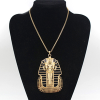Wolesale Đen Men Tutankhamun Cổ Điển Ai Cập Pharaoh Head Mặt Dây Chuyền Vòng Cổ Hip Hop Punk Vòng Cổ Jewlery Cho Nam Giới Phụ N