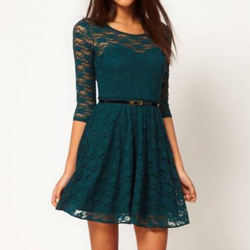 Lace Patchwork Half Sleeve Dress 1