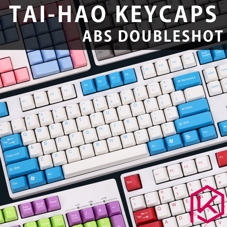 Taihao Abs Double Shot Keycaps For Diy Gaming Mechanical Keyboard Color Of Wangziru Blue White Grey Red Orange Purple