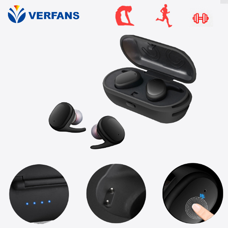 VERFANS mini Wireless Noise Cancelling Waterproof Earphone Business Earbud With Microphone Car Calling Hands Free Calls wireless bluetooth headset mini business headphones noise cancelling earphone hands free with microphone for iphone 7 6s samsung