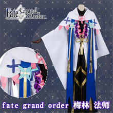 Anime Fate Grand Order Merlin Ambrosius Cosplay Costume sweater+trousers+coat+shawl+earrings+bowknot+Free Shipping G