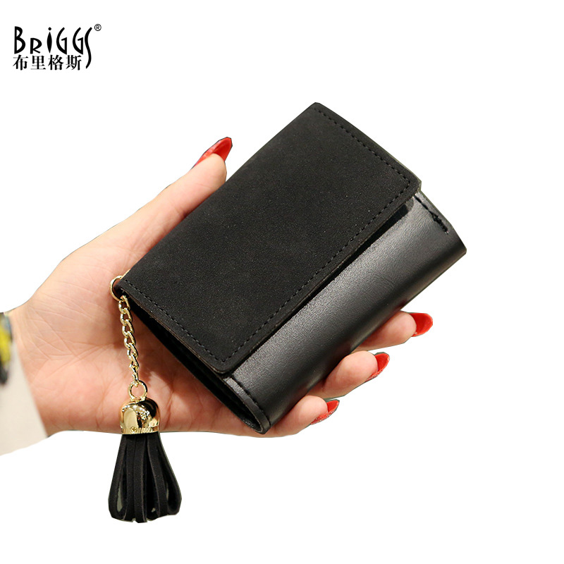 High Quality PU Leather Short Women Wallet Fashion Girls Change Clasp Purse Money Coin Card Holders Tassel Wallets cartera mujer
