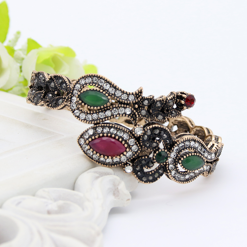 Turki Vintage Tulip Bunga Adjustable Bangle Manset Warna Emas Antik - Perhiasan fashion - Foto 2