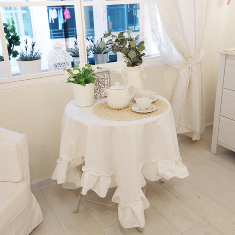 White Lace Tablecloth for Wedding Party cotton Printed Package Edge Square Table Cloth European Style