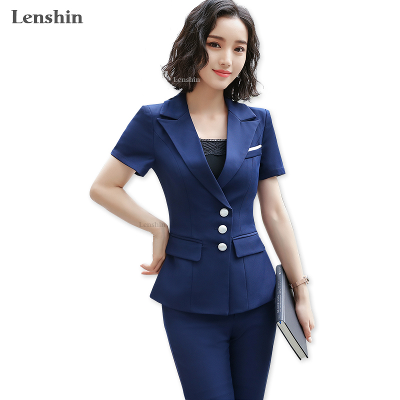 Pant Suits Suits & Sets New 2019 Spring Summer Formal Ladies Blue Blazer Women Business Suits With Pant And Jacket Sets Work Wear Office Uniform Styles With A Long Standing Reputation
