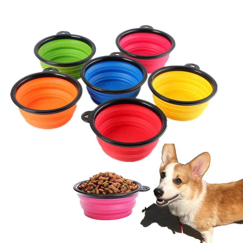 1PC Portable Folding Silicone Dog Bowl Outfit Travel Bowl For Dog Feeder Utensils Small Mudium Dog Bowls Pet Accessories