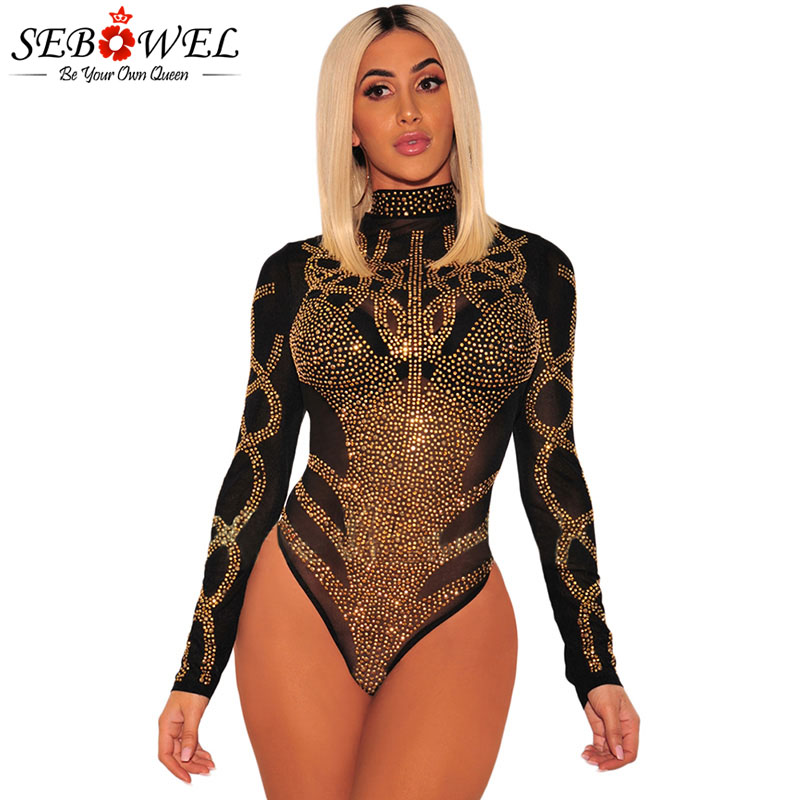 SEBOWEL 2019 Woman Sexy Bodysuits Autumn Spring Black Gold Rhinestone Bustier Female Mesh Turtleneck Long Sleeve Sheer Bodysuit