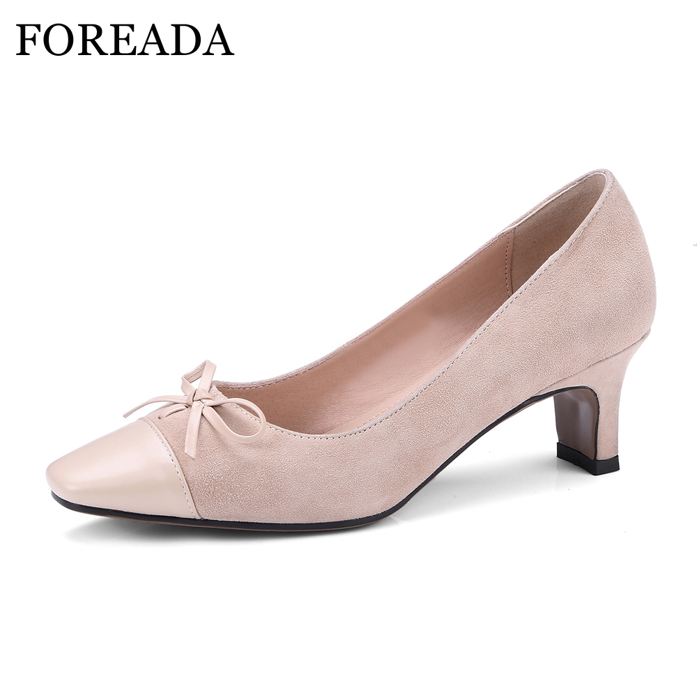 FOREADA Real Leather Shoes Women Sweet Casual Shoes Pumps Spring Strange High Heels Square Toe Bow Shoes 2018 Slip On Pink Pumps 2017 shoes women med heels tassel slip on women pumps solid round toe high quality loafers preppy style lady casual shoes 17