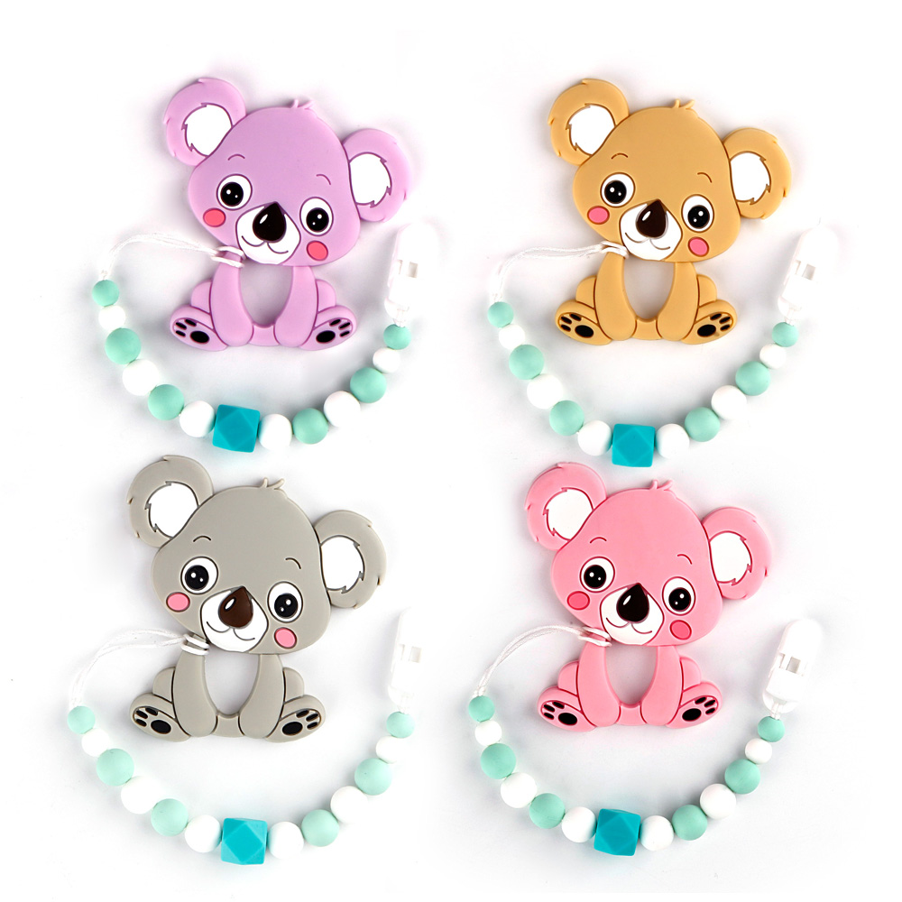 TYRY.HU Silicone Teether Pacifier Chain Clip Silicone Teether Baby Shower Gift Teething Necklace Silicone beads  BPA Free
