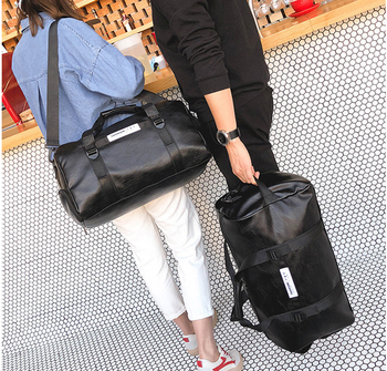 trendy All-match Unisex Leather Duffle Bag Pretty Dainty Men Casual Luggage Bag Classic Simple Style Travel Bags Sac D406