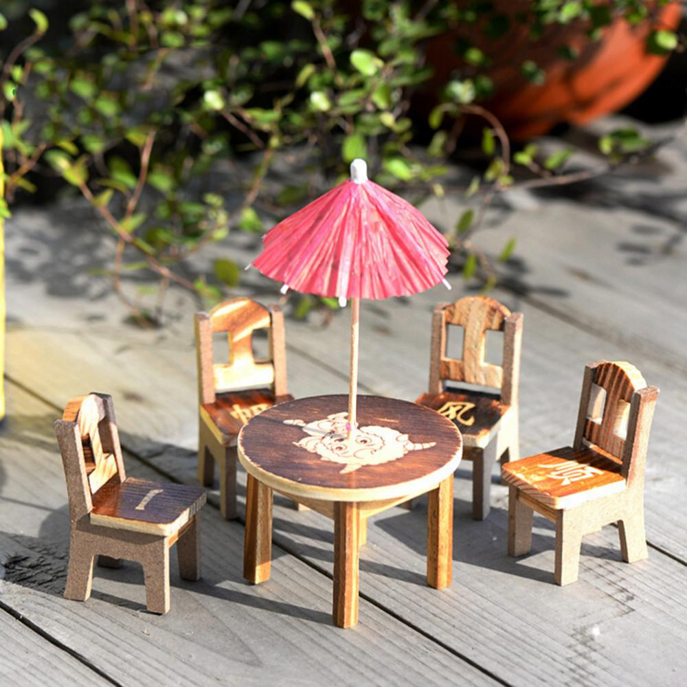 US $9.9 Mini Garden Decor Wooden Dollhouse Miniature Furniture Mini  Dining Room 9pc Table & 9pcs Table Chair Miniature Craft  LandscapeFigurines &