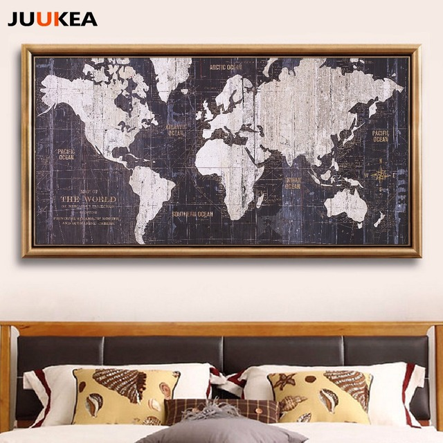 Vintage retro world map canvas art print painting poster over vintage retro world map canvas art print painting poster over size 78x156cm wall picture for gumiabroncs Gallery