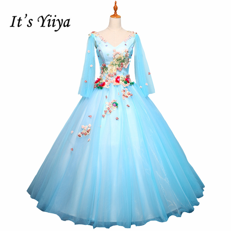 It's YiiYa Blue Pink New Full Sleeve V-Neck Appliques Wedding Dresses Embroidery Flower Pattern Beading Wedding Frock L011