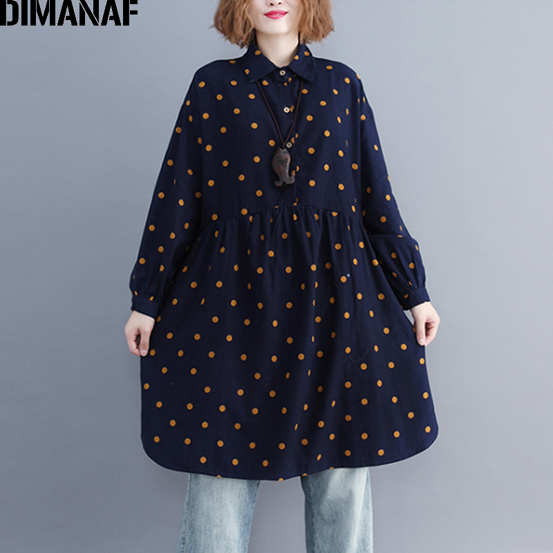 DIMANAF Women's   Blouse     Shirts   Loose Female Clothing Plus Size Long Sleeve Ladies Vintage Tops Print Polka Dot Cotton 2018 Autumn