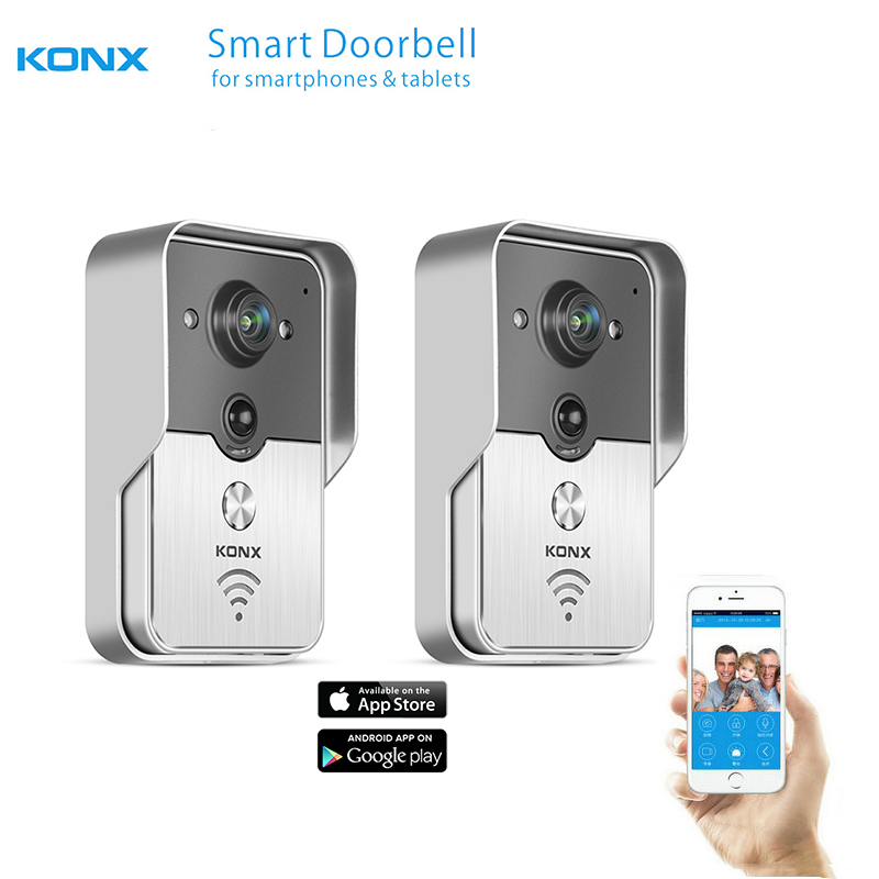 2017 KONX WiFi Wireless Video Door Phone intercom Doorbell peephole Camera PIR IR Night Vision Alarm Android IOS Smart Home 2PCS d114b smart home 1v2 wireless intercom one to two video door phone 2 4g digital pir detection video door peephole camera