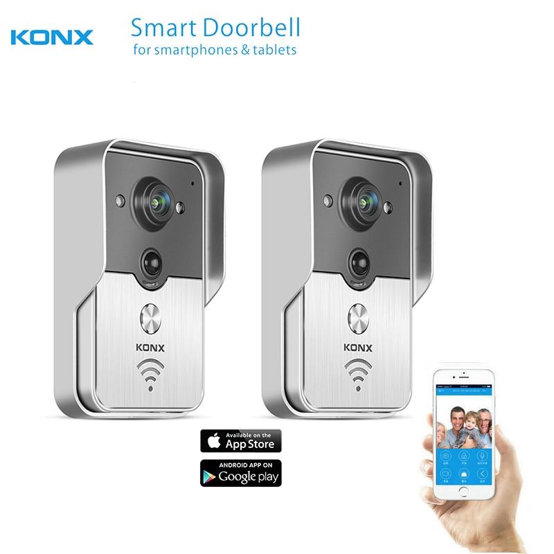 imágenes para 2017 konx inalámbrica wifi videoportero intercom timbre mirilla cámara PIR de INFRARROJOS de Visión Nocturna de Alarma IOS Android Smart Home 2 UNIDS