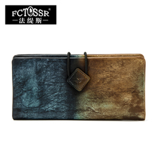 2017 New Arrival Women Wallet Genuine Leather Vintage Female Clutches long design Clutch Two Fold Purse Card Holder