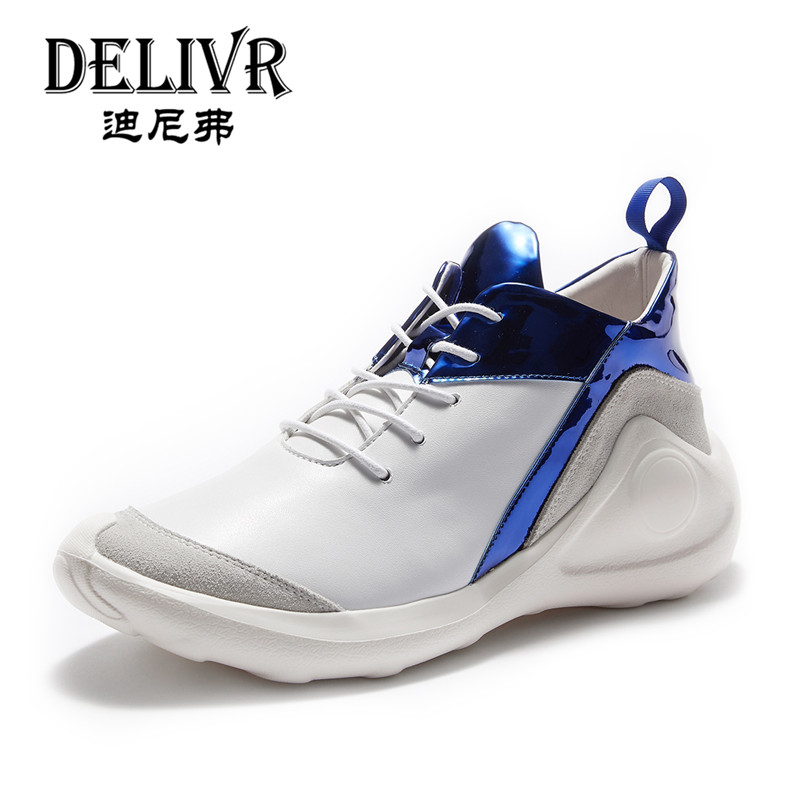 Delivr New 2019 Chunky Men Sneakers Real Genuine Leather Mens Vulcanized Shoes Flats White Dad Shoes Casual Runing Shoes MensDelivr New 2019 Chunky Men Sneakers Real Genuine Leather Mens Vulcanized Shoes Flats White Dad Shoes Casual Runing Shoes Mens