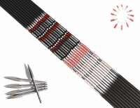 12 sztuk strzelanie węgla strzałka wał ID4.2mm 700/800/900 + 12 sztuk pin nock + 12 sztuk ze stali nierdzewnej punkt docelowy dla DIY