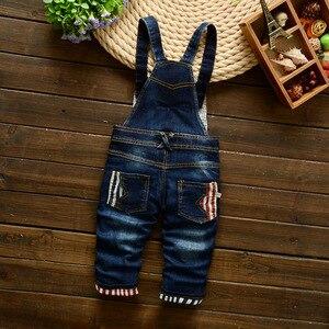 Image 2 - Bebê meninos denim macacão, macacão crianças, roupas infantis primavera e outono algodão sanicebeen cintura elástica geométrica reta