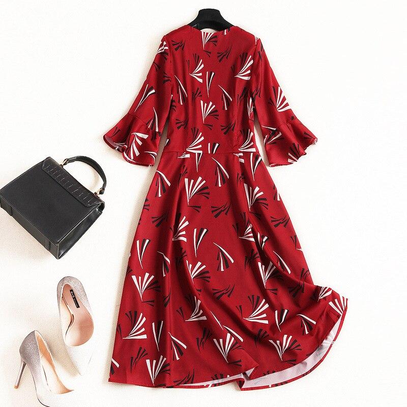 V D'été Bourgogne De Genou Demi Vin longueur Imprimer Robes 2019 Col 10166 Manches Flare Femmes Haute Qualité Shuchan Rouge Décontracté SHEPqRFA