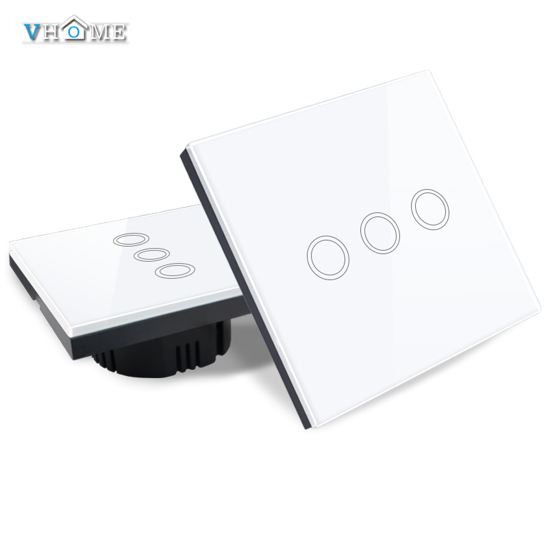 Vhome EU/UK Standard Touch Switch 3 Gang 1 Way Wall Light Touch Switch Crystal Glass Switch Panel,Wireless remote control switch smart home eu touch switch wireless remote control wall touch switch 3 gang 1 way white crystal glass panel waterproof power