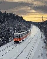 MaHuaf-i755 Rusland trein sneeuw landschapsschilderkunst nummers op canvas DIY olie digitale verf door nummer kits voor home decor