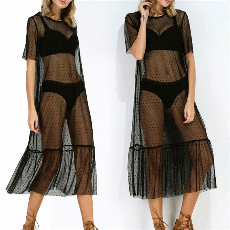 Detail Feedback Questions about New Sheer Mesh Maxi Dress Women Short  Sleeve Sequin Polka Dot Dresses Black Perspective Sundress Summer High  Waist Beach ... 8698467dab32