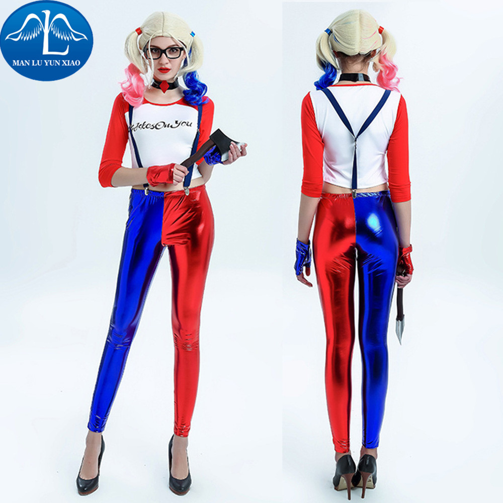 Women Suicide Squad Harley Quinn Cosplay Costume Halloween Costumes For Adult Costume Women Harley Quinn Cosplay Harley Suit suicide squad harley quinn boots bota accessories black women for harley shoes harley quinn costume cosplay suicide squad