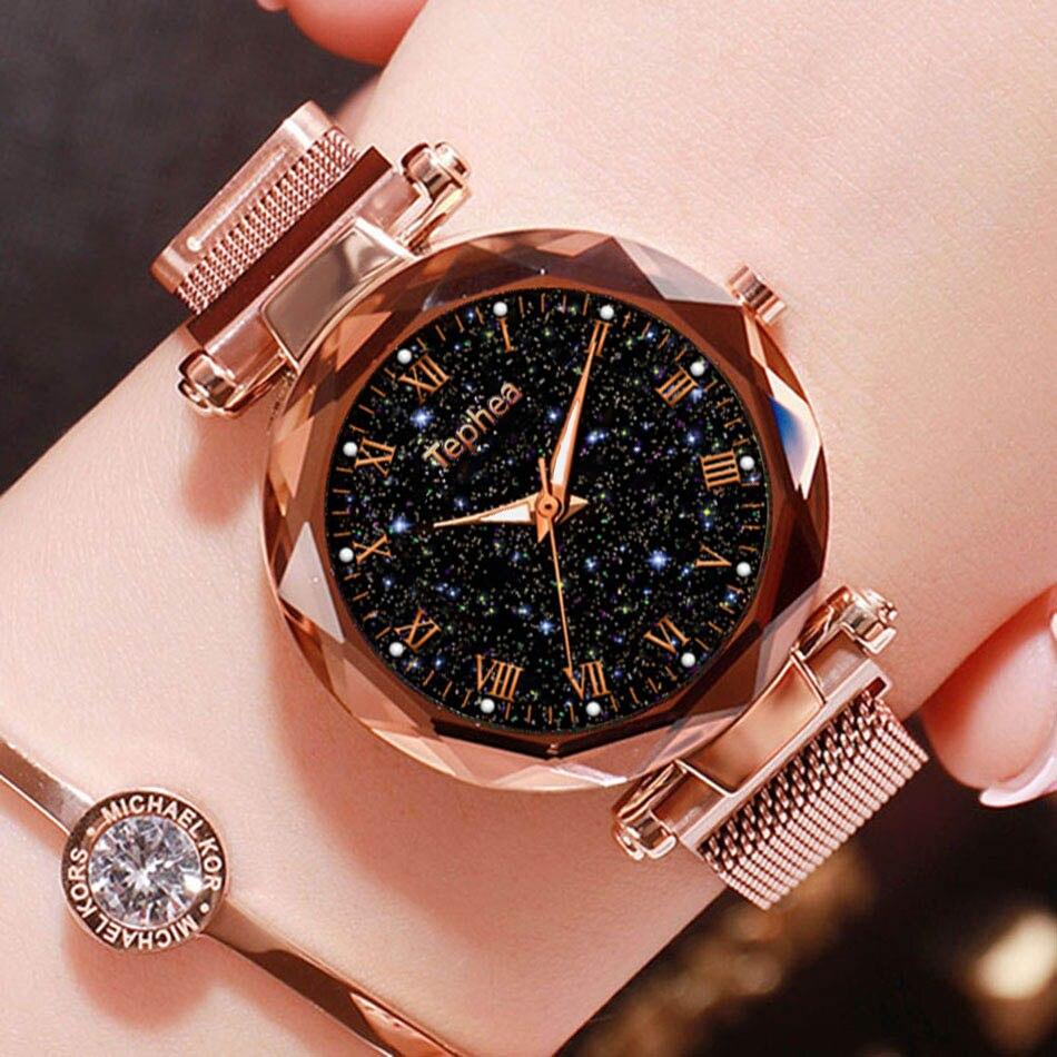 Luxury Luminous Women Wrist Watches 2019 Starry Sky Ladies Dress Magnetic Watch For Gift Star Watch Relogio Feminino Reloj Mujer