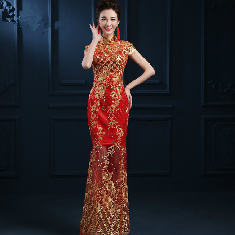 Online buy wholesale oriental brides from china oriental for Chinese wedding dresses online