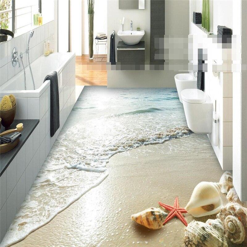 Berühmt Moderne aufkleber 3D boden badezimmer wand HD Ozean Strand Shell MR37