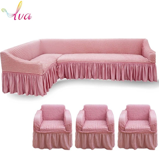 Lva Elastic Sofa Covers For L Sharp Armchair Couch Corner Cover Cases Single