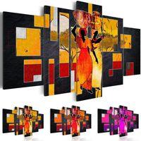 5แผงผ้าใบผนังนามธรรมแอฟริกันผู้หญิงภูมิทัศน์ผ้าใบจิตรกรรมFrameless Wall Artจิตรกรรมห้องนั่ง