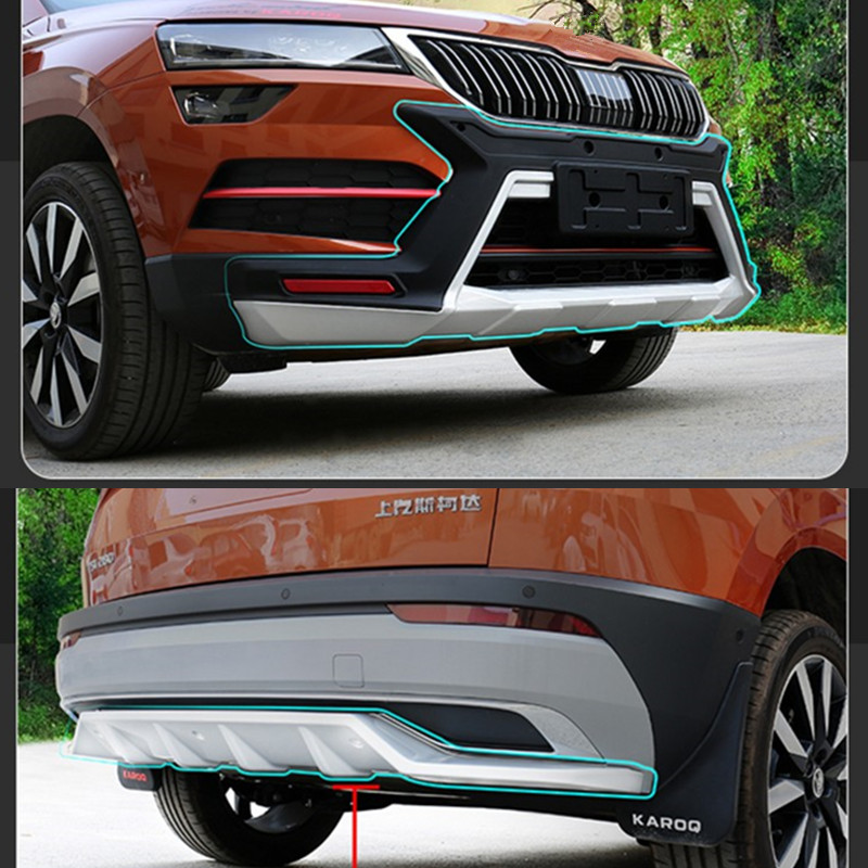 High quality Car styling 1 2pcs ABS Front and Rear Bumper Skid Protector Plate cover For SKODA KAROQ 2018 Car styling