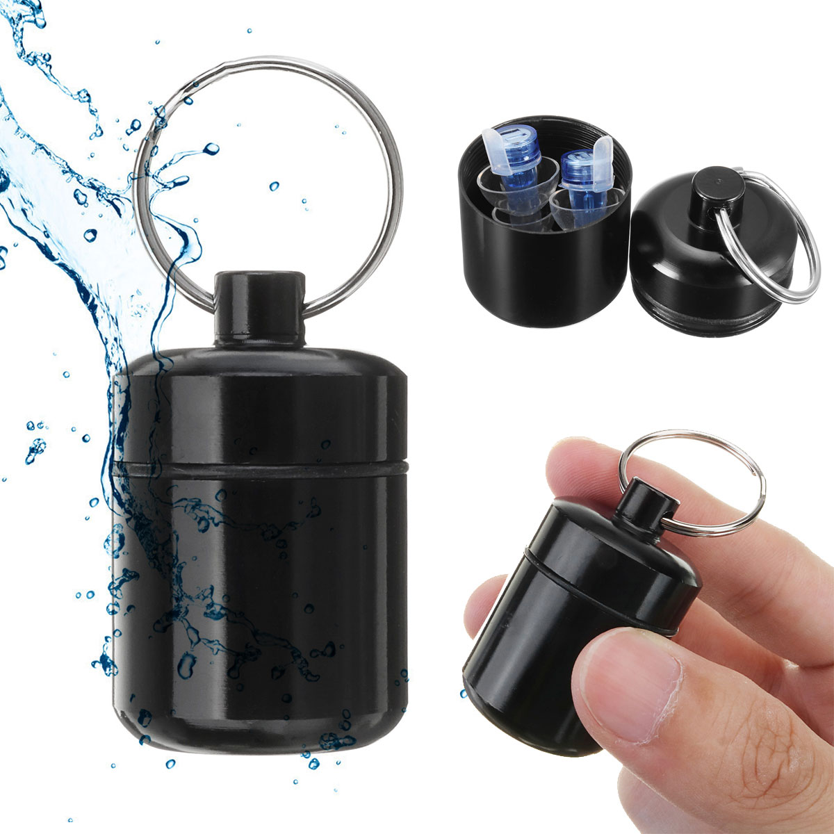 Aluminium Alloy Black Bottle Case For Silicone Musician Filter Earplugs Noise Canceling Protection Earbud Pill Box Carrying