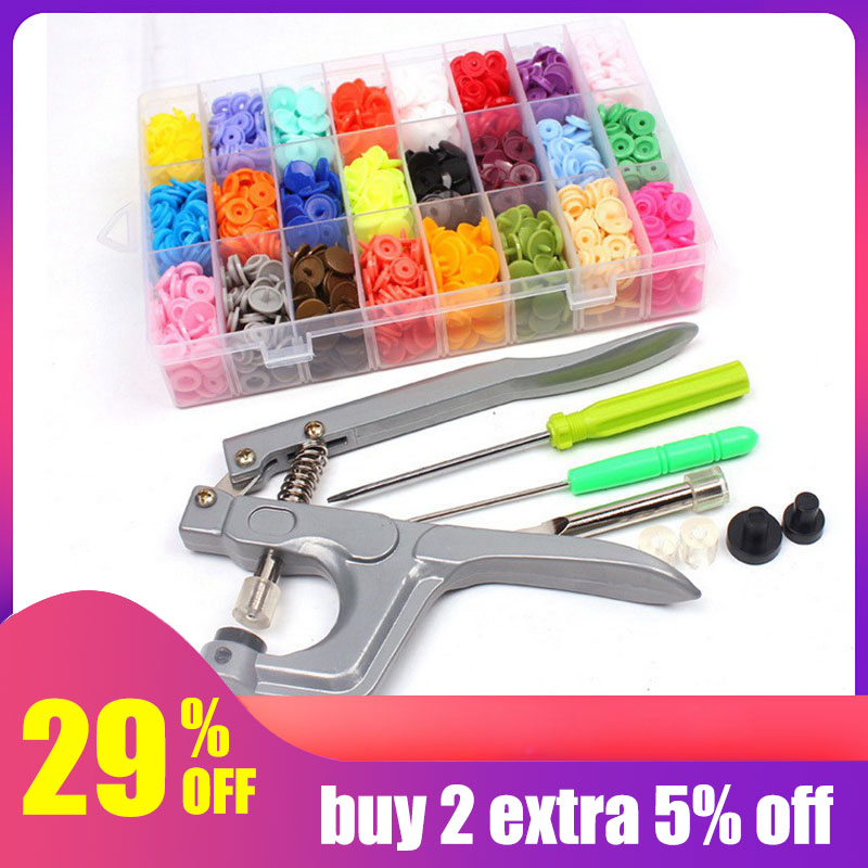 Hoomall 360PCs Resin Buttons With Tool Pliers Buttons For Clothes Needlework Sewing U Shape Press Machine Sewing Tools DIY Craft