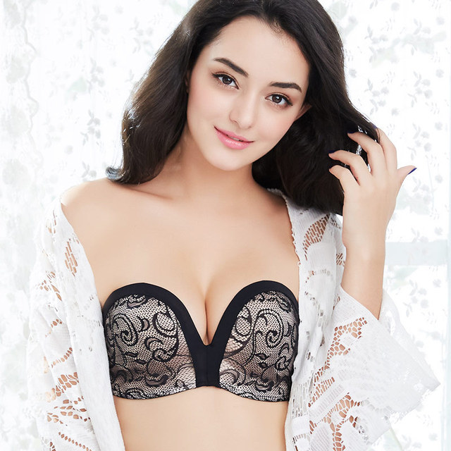 c74bd1df75 Strapless Bra For Women Push Up Lace 3 4 Cup Plunge Invisible Bra Non-slip  For Dress Wedding Backless Sexy Invisible Bras