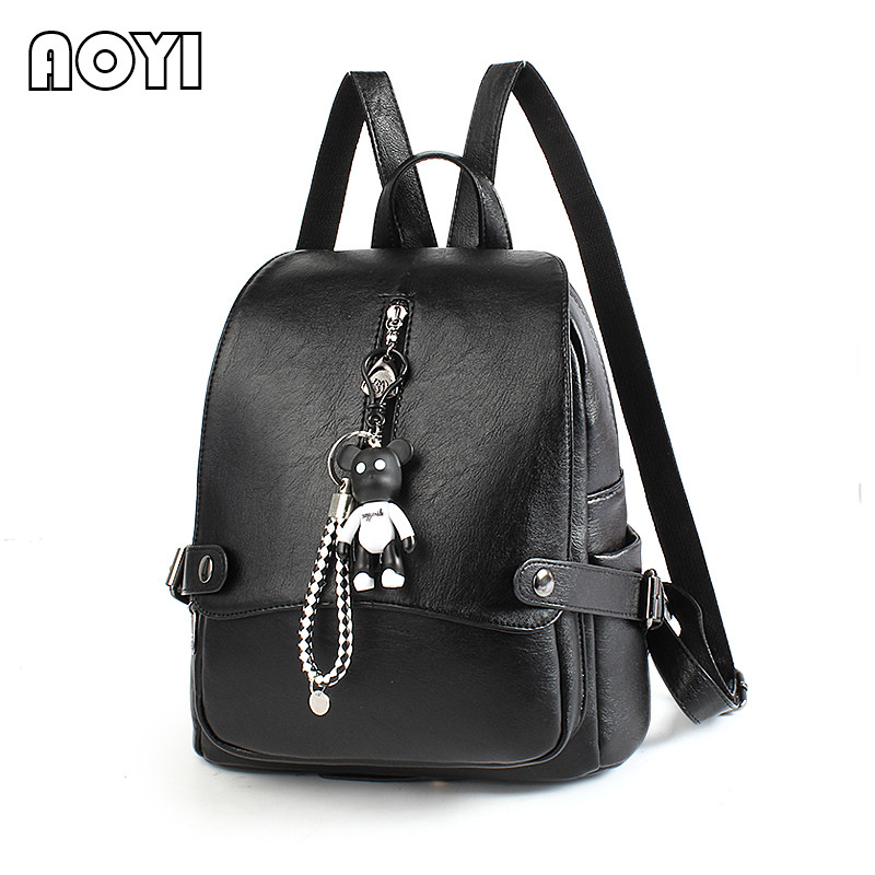 AOYI Elegant Women Backpack Fashion PU Leather Backpack for Teenage Girls Luxury Back Bags School Bag High Quality Solid Mochila цены онлайн