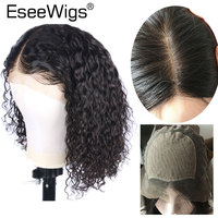 Eseewigs Full Lace Silk Base Wigs Deep Curly Brazilian Remy Human Hair Pre Plucked for Women Black Hair Color 130 Density