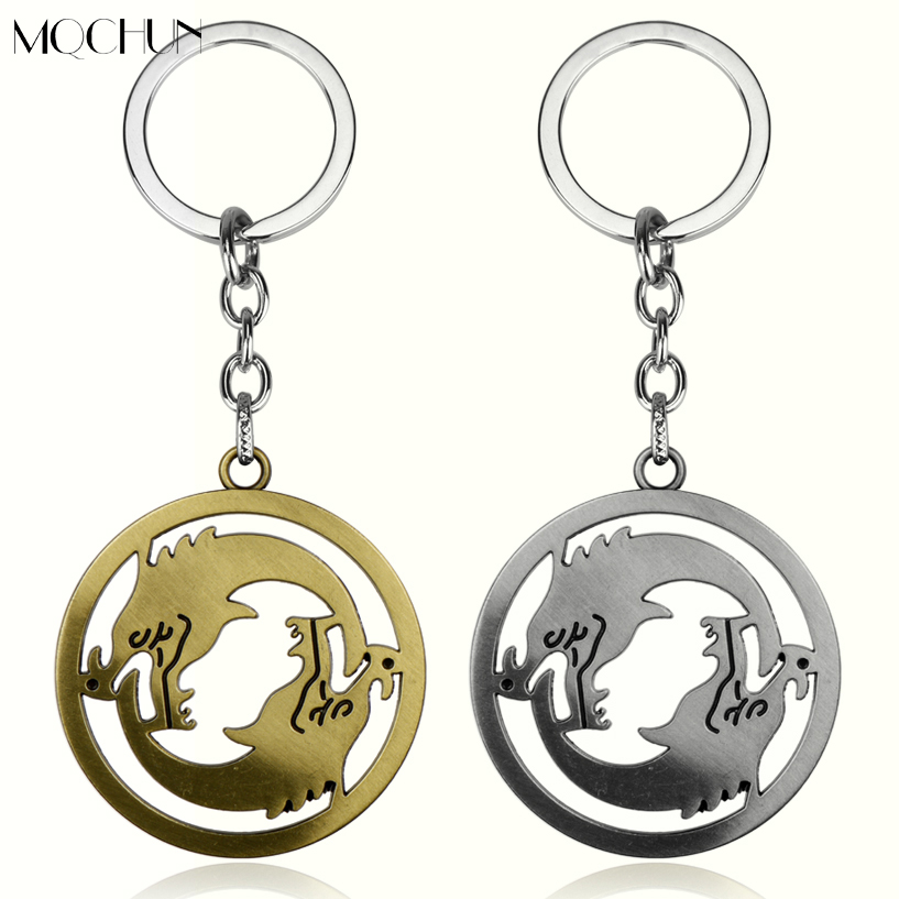 MQCHUN Jewelry Game Gift For Fans Men Car Key Accessories Christmas Jewelry Over Two Wolf Around Penndant Keychain Chaveiros